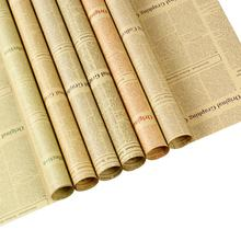 2020 Latest Fashion Design Vintage Kraft Paper English Newspaper Flower Wrapping Paper 45 sheets/Bag