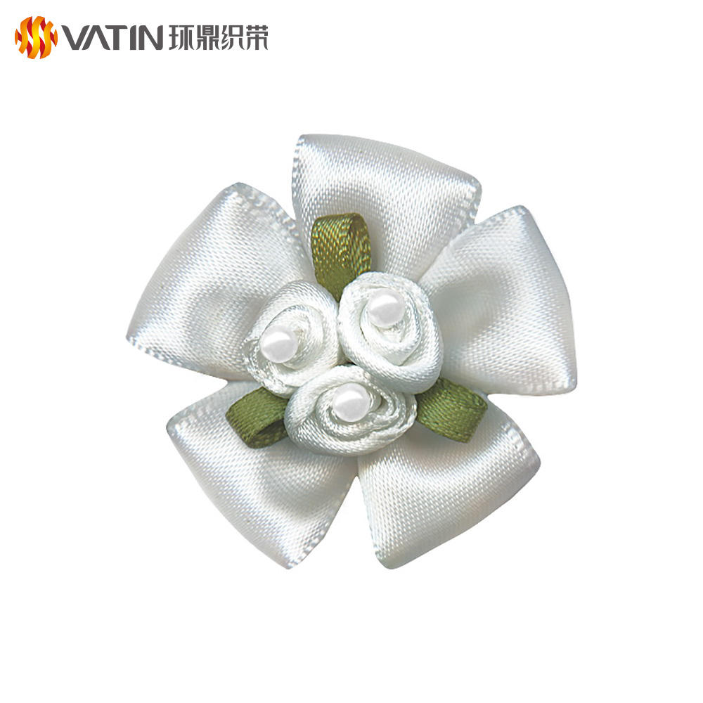 OEM Hand craft work colorful satin ribbon packing gift miniature ribbon flower