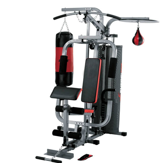 multi-function trainer four station strength fitness equipment ,commercial home gym equipment multi home gym with boxing bag