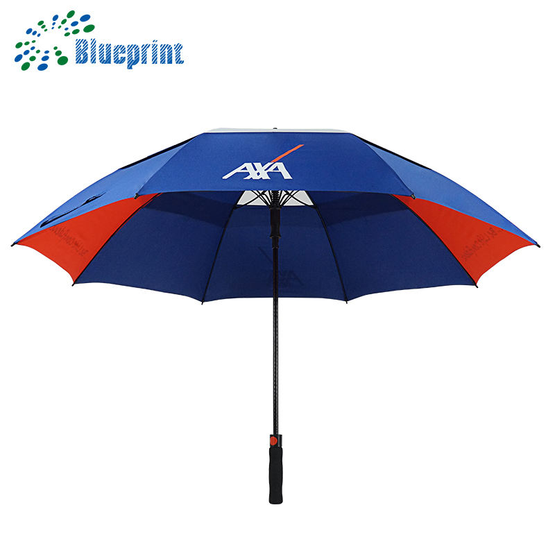Customized Designs fiberglass frame double canopy windproof golf umbrella