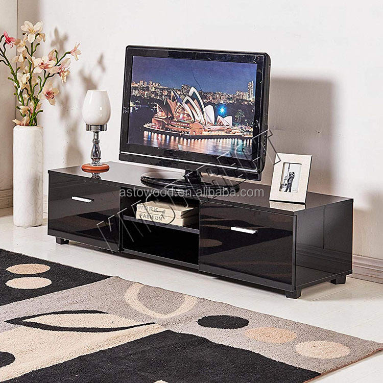 High Gloss TV Cabinet Stand Entertainment Unit with Drawers SOHO Modern Living Room Furniture