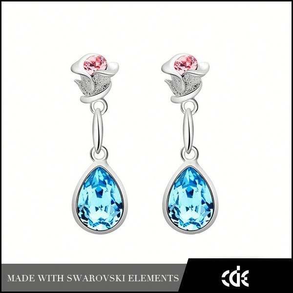 Cde directe de <span class=keywords><strong>gros</strong></span> bijoux de fantaisie en forme de boucles d'oreilles fleur de porcelaine rose pour les filles