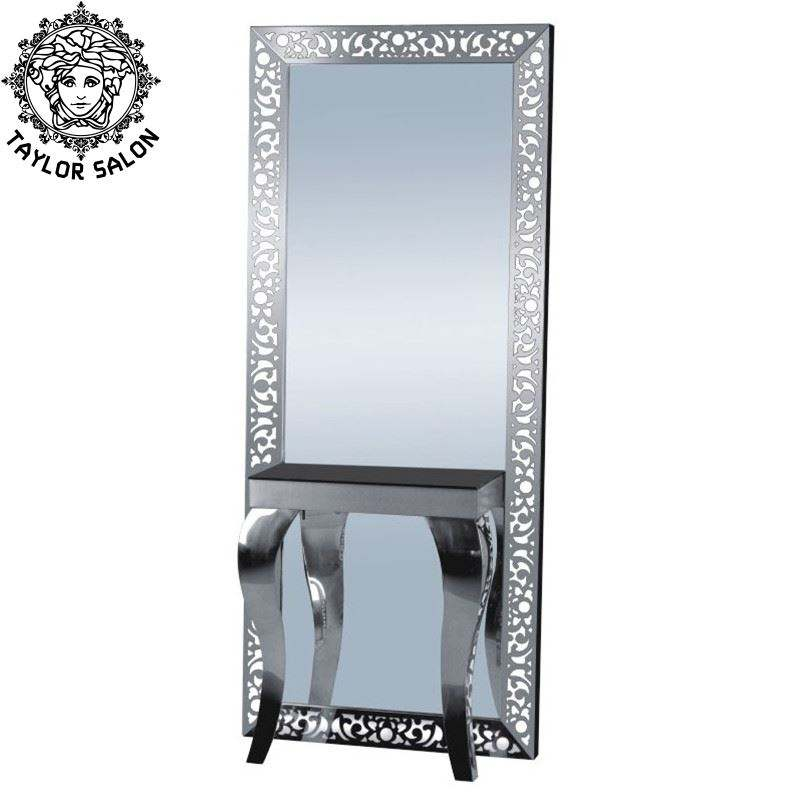 Beauty saloon equipments stainless steel furniture LED modern makeup salon mirror station hairdressing