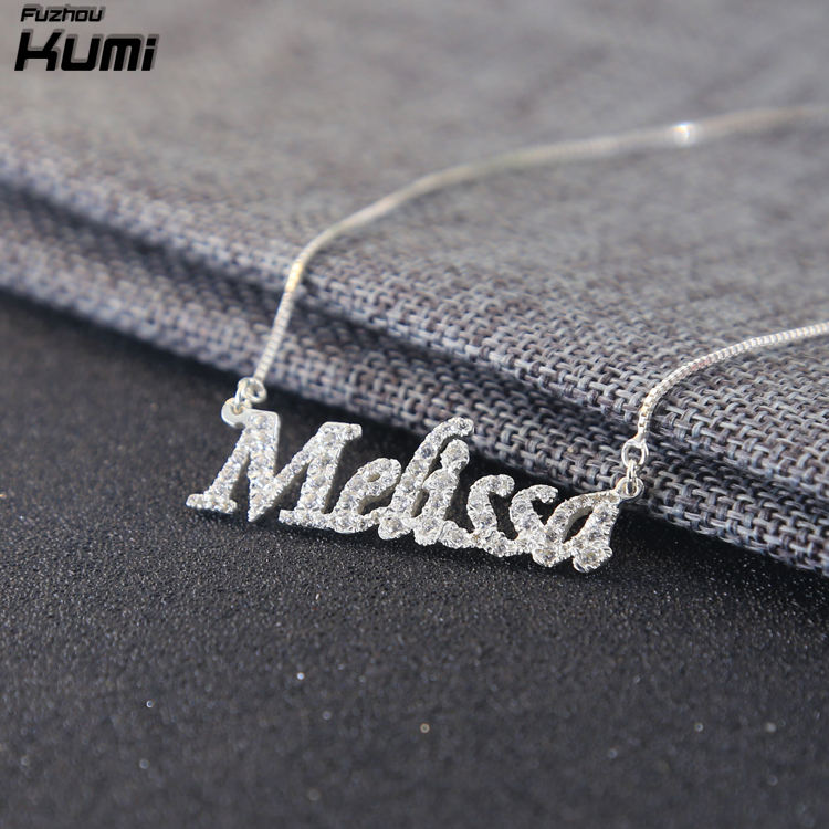 Christmas jewellery handmade zircon jewelry name diamond necklace with any font