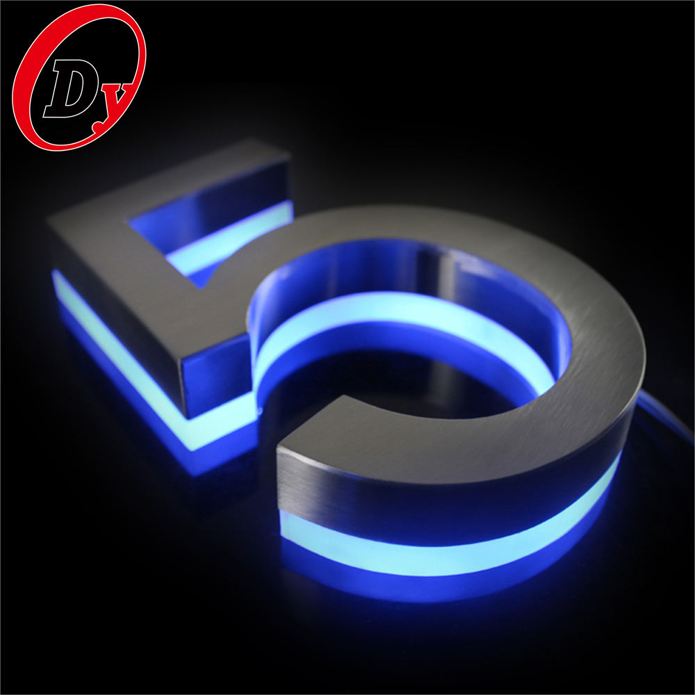 Professional Custom Outdoor 3d Lighted House Number Sign Letters Led Backlit Stainless Steel Number