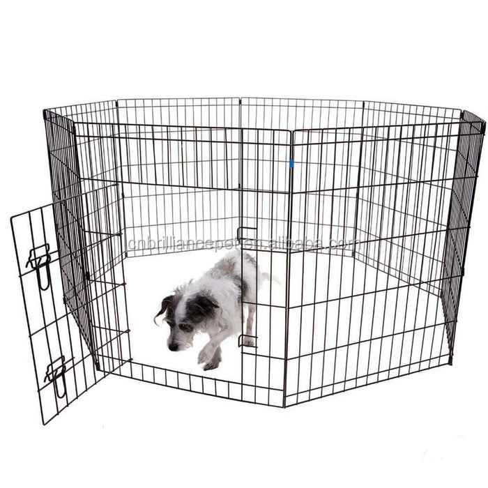 Foldable Metal Exercise Dog Pen; Puppy Playpen Outdoor; Outside Dog Fences with Door