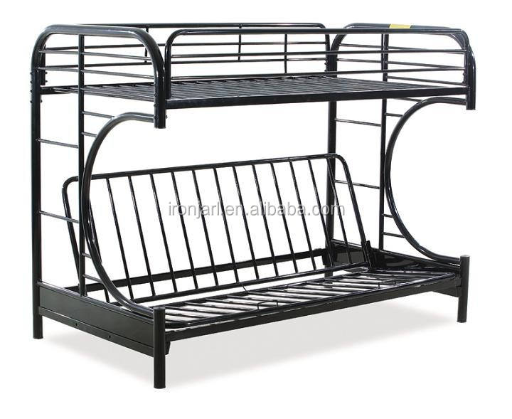 Double decker durable C futon metal bunk bed