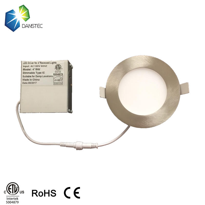 ETL 5004879  multicolor dimmable recessed led panel light with isolated driver in a junction box 9W 4 inch slim led downlight