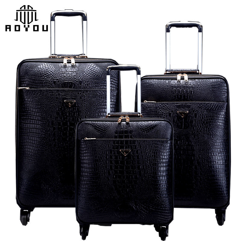 3pcs hot selling Wholesale carry-on travel luggage Genuine Leather suitcase for business