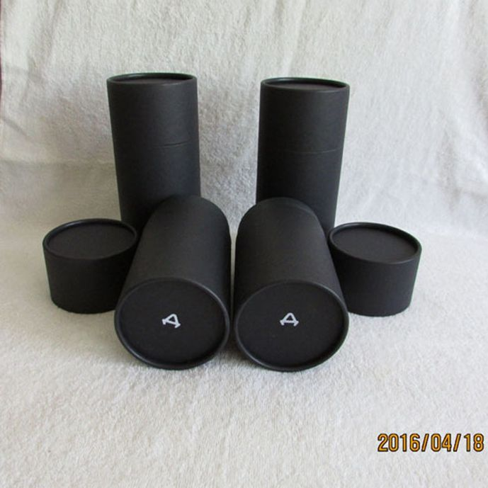 Custom design printing matte black cardboard cosmetic paper packaging tube for essential oil face cream retail packing