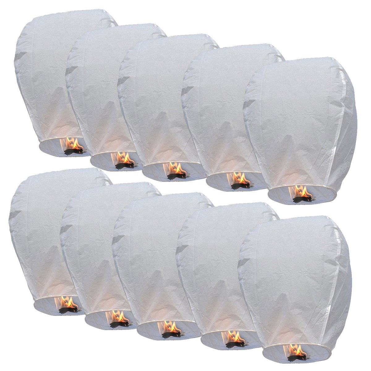 Boomwow ECO Friendly 100% Biodegradable Traditional Flying Sky Lanterns Wishing Lamp for Christmas New Year
