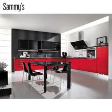 New model kitchen cabinets products / high gloss red and black kitchen cabinet