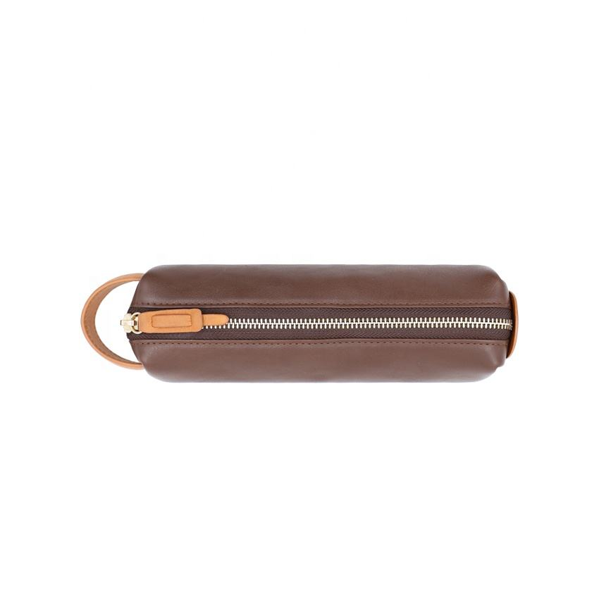 Brown PU leather pencil case for college with full zippered closure
