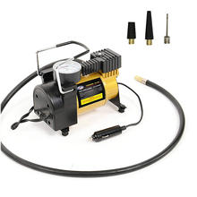 12V Electric Portable Mini Air Compressor Pump for Car Tire Inflator with Pressure Gauge & 3 Universal Nozzle Adapters