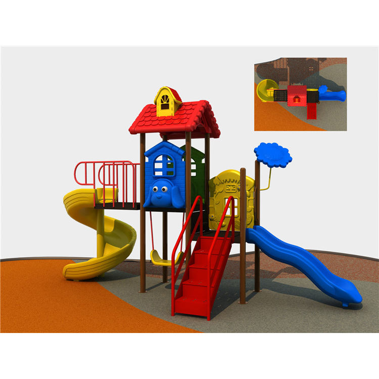 CE EN1176 carton house theme small Children baby kids plastic outdoor playground equipment swing slide for sale