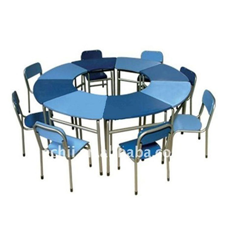kindergarten classroom furniture 8 seats round table and chair group