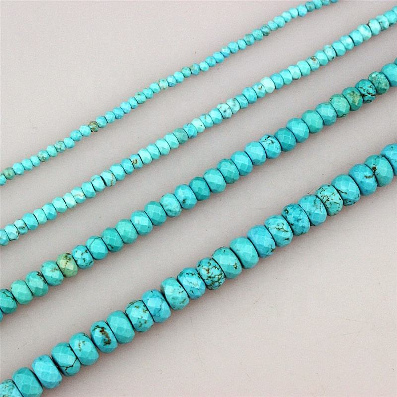 CH-GMB0031 Wholesale natural turquoise beads, fashion stone loose bead strand,faceted rondelle gemstone beads