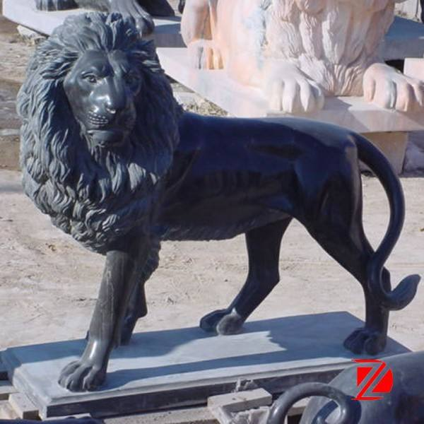 Overlooking Black Marble Lion Statues
