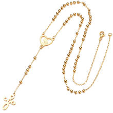 Women  Stainless Steel Long Gold Rosary Beads Necklace Gold Jesus Virgin Mary Cross Pendant Necklace