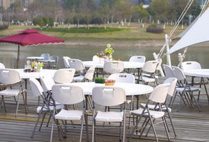 10 people hotel wedding uesd round plywood folding tables for banquet