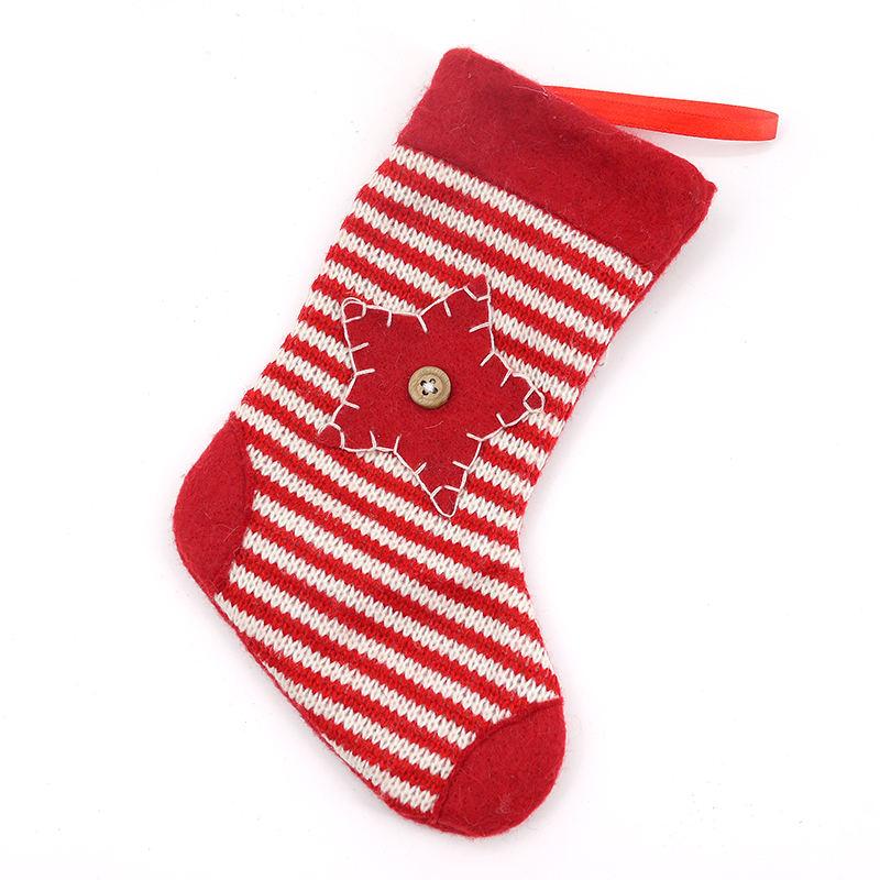 20 см длина красный Мини вязать Рождественский чулок висят украшения