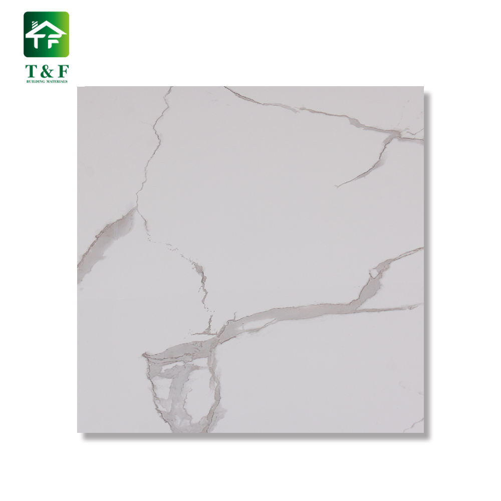 60 60 High Glossy Marble Foor Tiles Golden Calacatta Glazed Polished Calacatta White Marble Porcelain Floor Tile