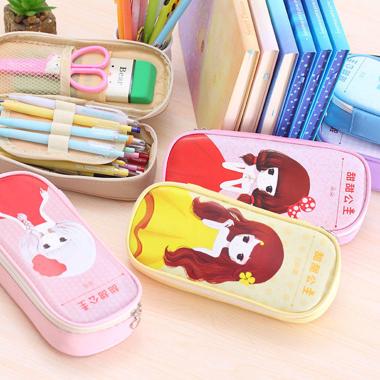 Zoete prinses pen zak multifunctionele briefpapier tas etui student potlood tas customization