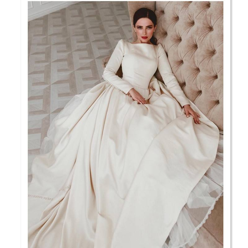 2019 Italy design plain satin Megan court train wedding dresses long sleeves open V back boat neckline a line bridal dress