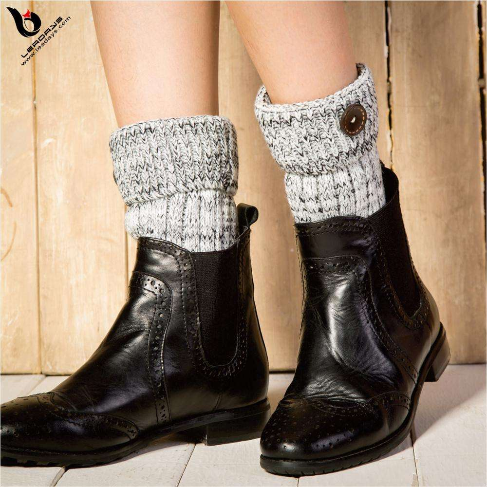 latest knitted fabric leg warmers with buttons