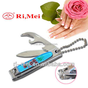 Custom finger nail clipper with bottle opener and plastic cover