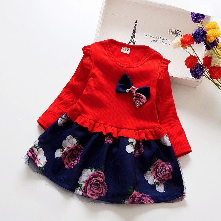 Spring Autumn Toddler Girl Dress Cotton Long Sleeve Floral Bow Kids Dresses for Girls kids Clothing