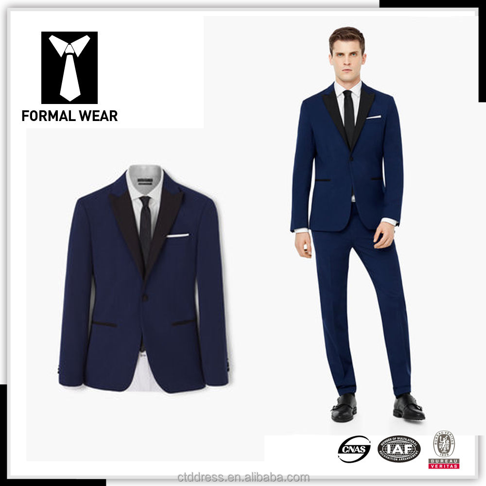 Slim fit contrast colour combination suits for men