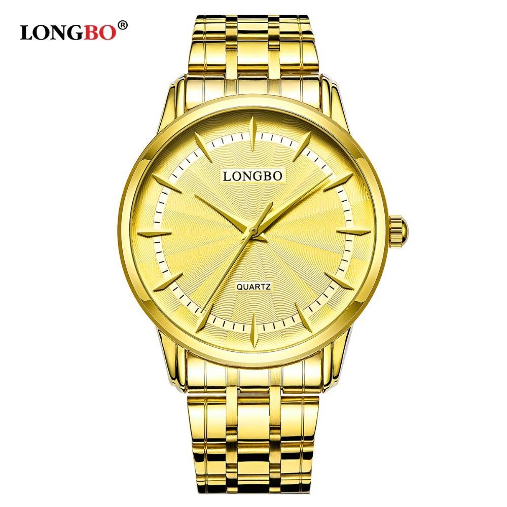 LONGBO 80271 Luxury Fashion Gold Color Waterproof Quartz Wristwatch Couple Lover Gift Men Women Watches