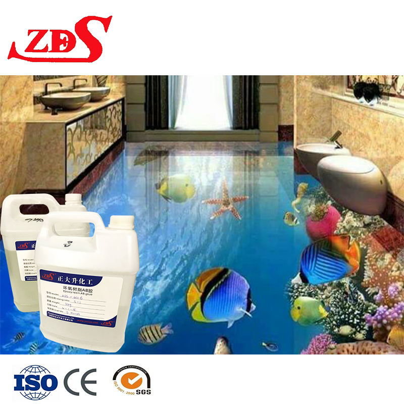 Dua Komponen Ab Lem Epoxy Resin 3D Cat Lantai/Epoxy Resin Beton Perekat