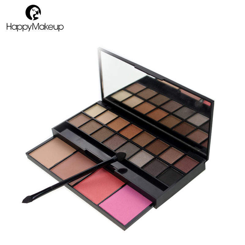 Makeup 20 warna kosmetik eyeshadow blush kit dengan cermin