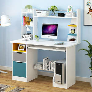 Computer Desk With Bookshelf Drawer Corner PC Table Home Office Study Bookcase