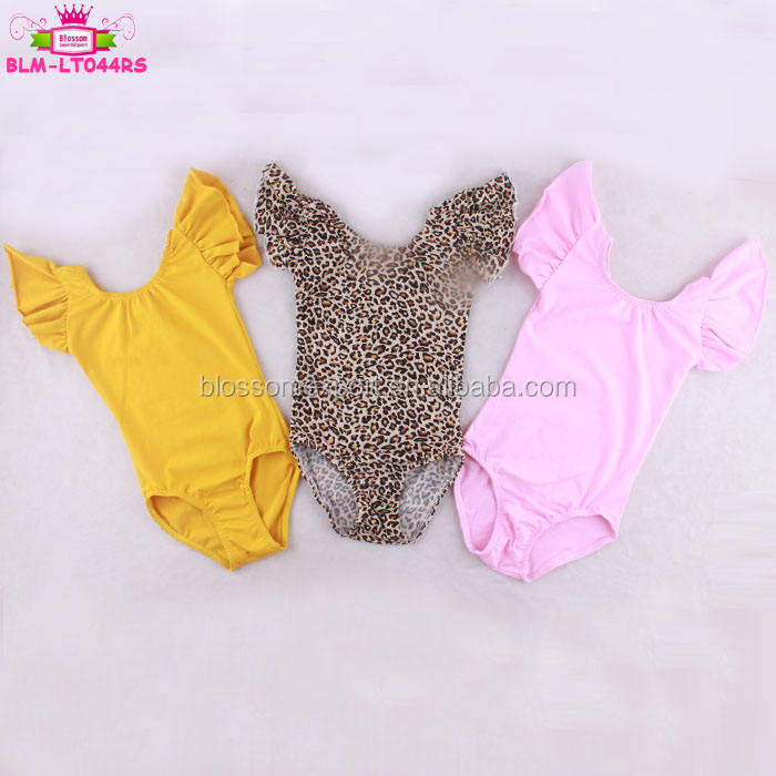 Custom Print Leopard Kids Girl Leotard Flutter Sleeve Wholesale Dance Ballet Leotard