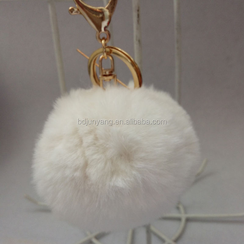 new design synthetic fur pompom ball key chain cheap fake faux rabbit