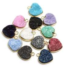 Heart Ice Quartz Agate Pendants with Brass gold color plated natural more colors for choice 14x13x5mm 1215885