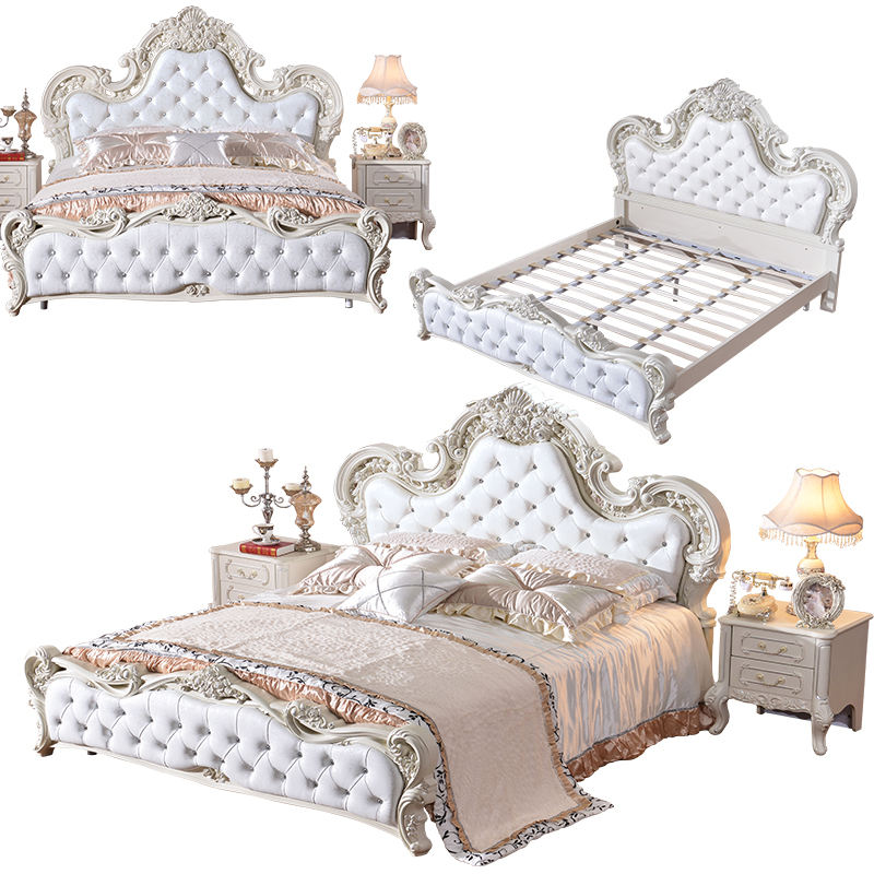 Stile di lusso Barocco Francese <span class=keywords><strong>Bianco</strong></span> Rivestimenti In Pelle Intagliata Rosa Testata <span class=keywords><strong>Letto</strong></span> King Size