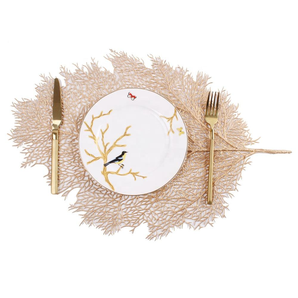 Wholesale unusual leaf shape pvc placemat rose gold luxury