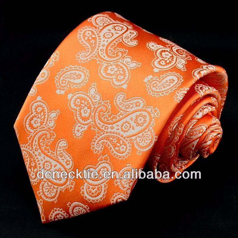 golden orange jacquard floral silk ties luxury tie