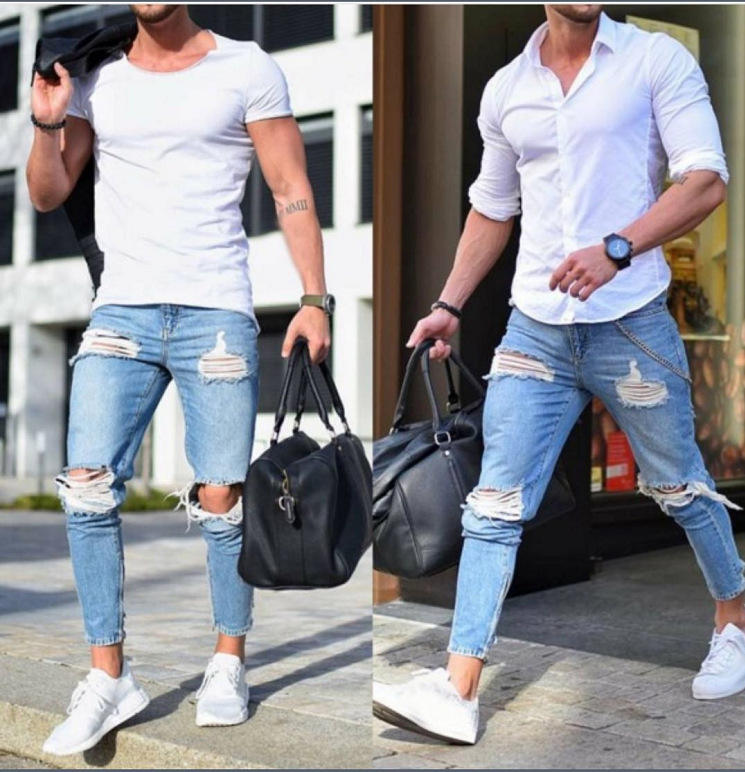 Amazon High Quality Skinny Jeans Men Light Blue Damaged Jeans