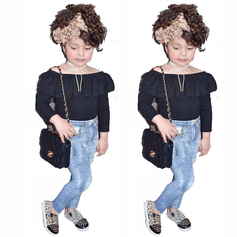 Hot Selling Amazon Black Off Shoulder Top+Pant Jeans Kids Clothing Sets