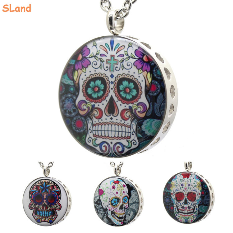 Wholesale punk Skull glue DIY Essential Oil refill pads Health Aromatherapy Diffuser Locket Pendant Necklace Stainless steel