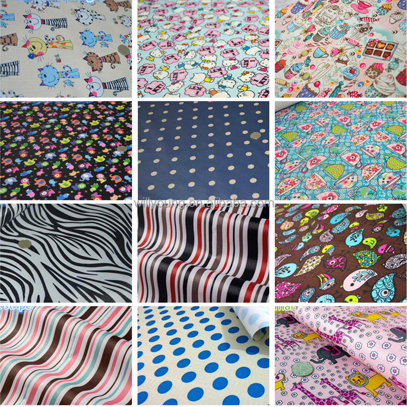 pvc coated printed fabric 210d oxford with designs patterns stripe zebra cat 210D 0.2mm 1m price water proof for bag tent awning
