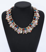 Fashion Wholesale Bib China Gemstone Handmade Crystal Statement Necklace