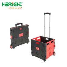 Supermarket popular promotion package pack and roll logistic turnover portable plastic shopping foldable cart