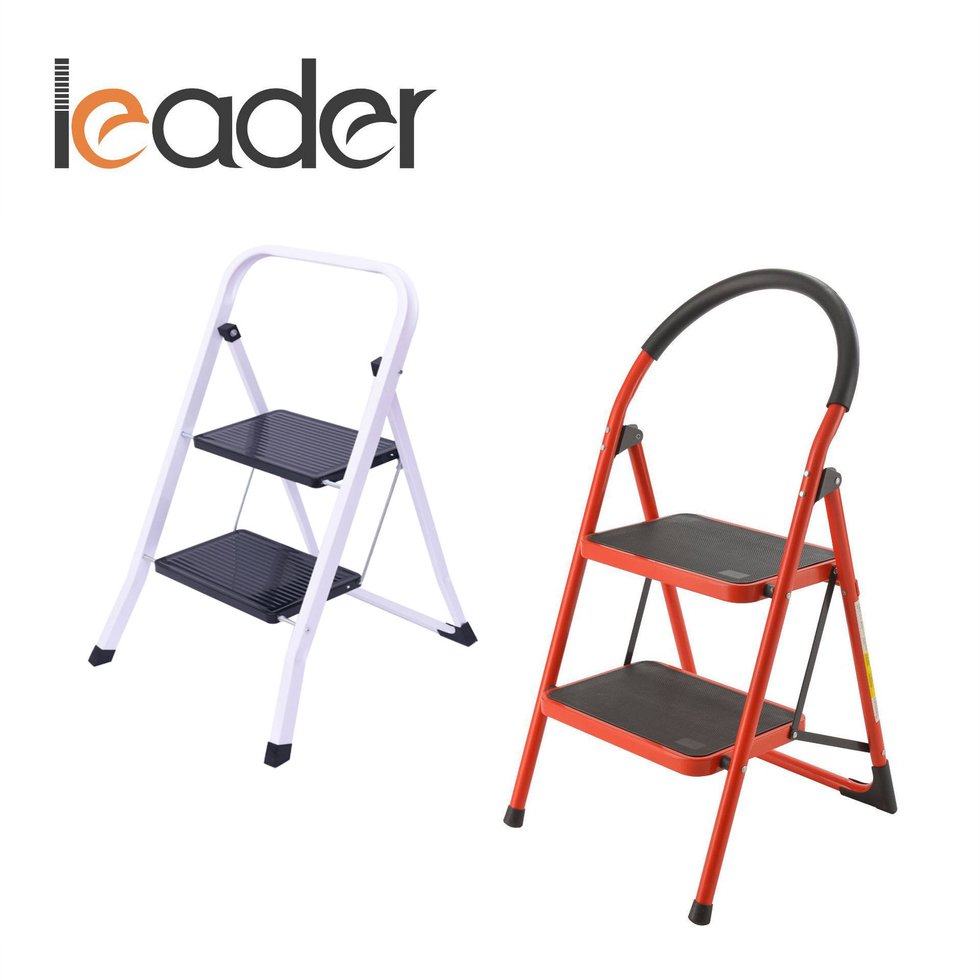 Two steps square tube folding iron ladder