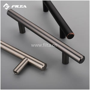 T-bar round tube stainless steel drawer pulls kitchen handle for glass sliding door double side big door pull handle